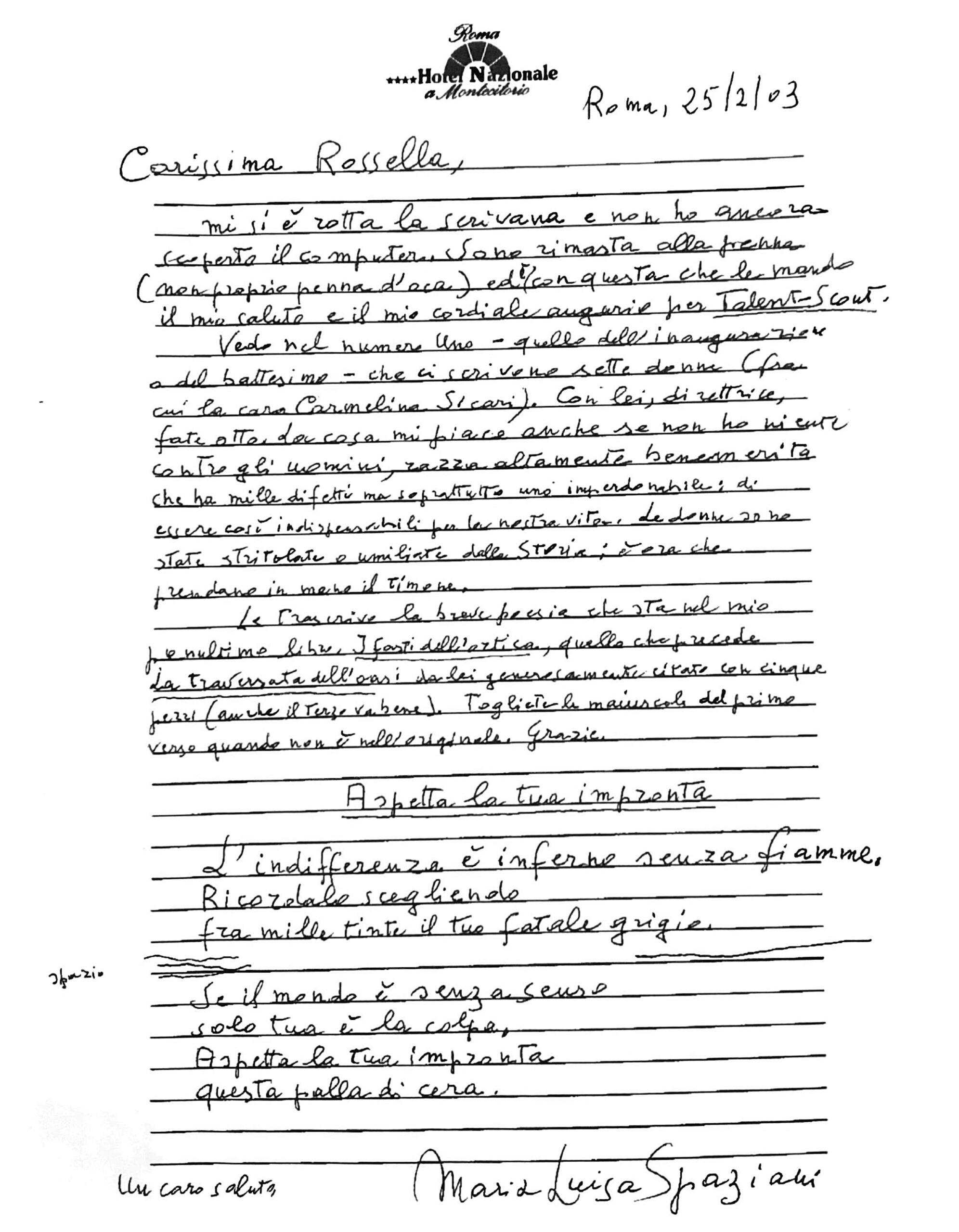 Lettera di Maria Luisa Spaziani